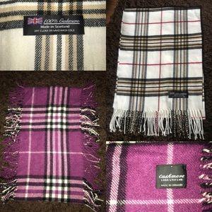 2 100% pure cashmere plaid check scarves